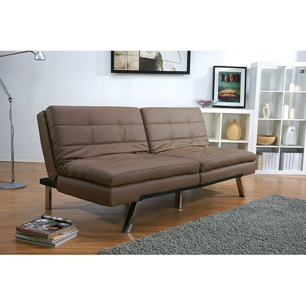 memphis taupe double cushion futon sofa bed free shipping today