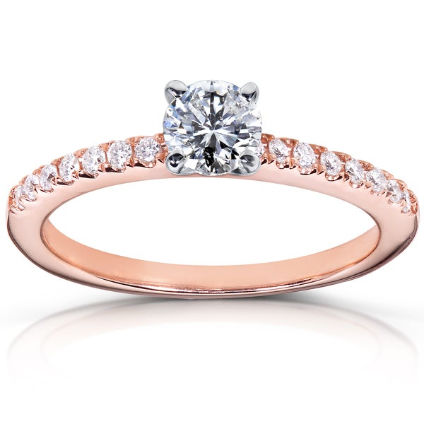 Annello 14k Rose Gold 5/8ct TDW Diamond Engagement Ring (H-I, I1-I2)