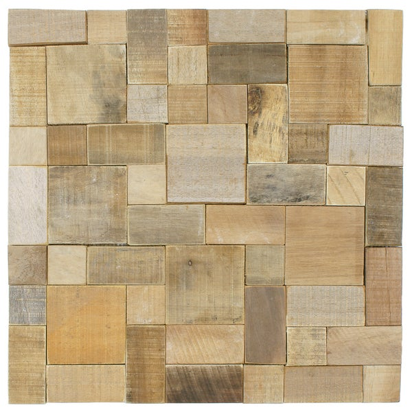SomerTile 15.75x15.75-in Tropical Wood Versailles Wall Tile (Pack of 6)