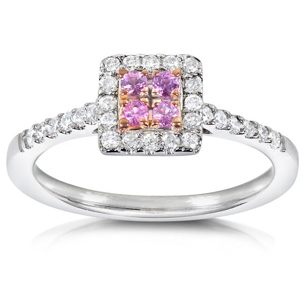 Annello by Kobelli 14k Gold 1/4ct TDW Pink Sapphire and Diamond Ring (H-I, I1-I2)