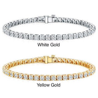 Auriya 14k Gold 3 2/5ct TDW Diamond 8-inch Tennis Bracelet