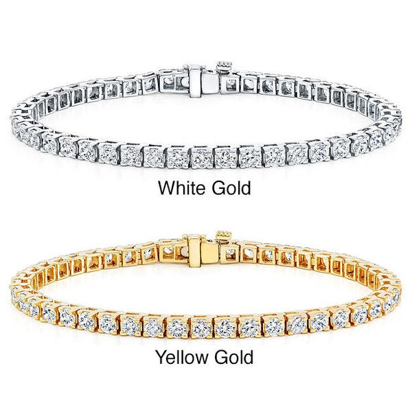 Auriya 14k Gold 3 2/5ct TDW 8-inch Diamond Tennis Bracelet