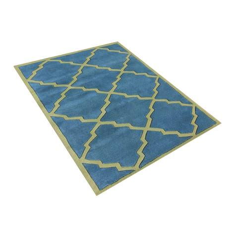 Alliyah Handmade Aqua New Zealand Blend Wool Rug - 5' x 8'