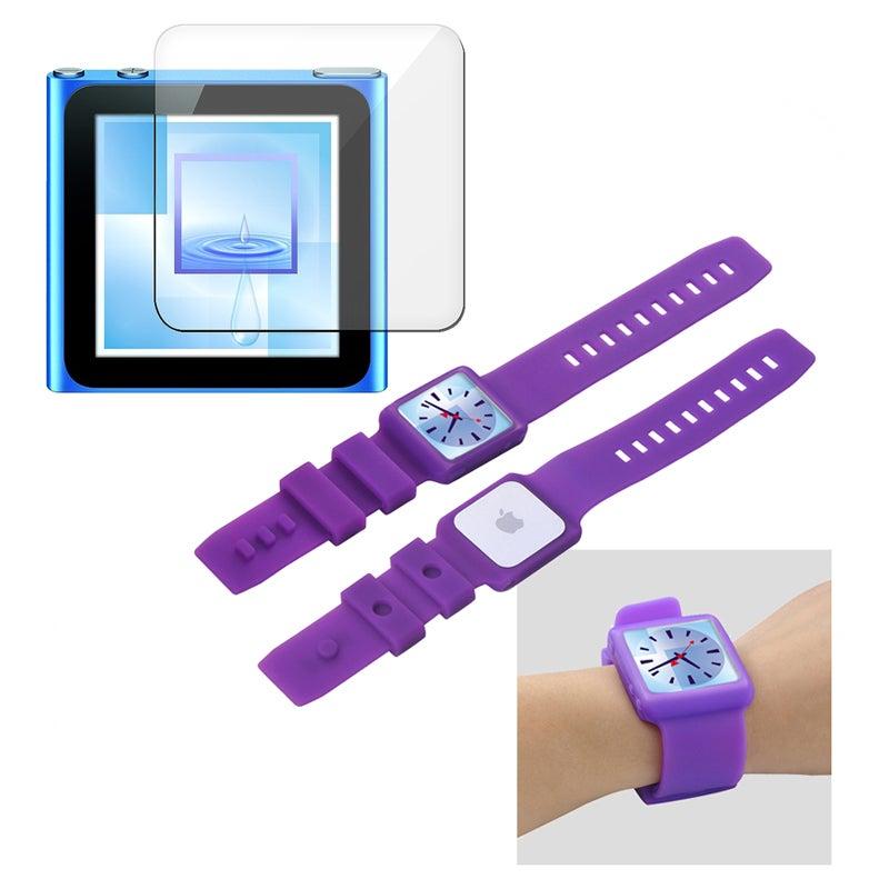 INSTEN Purple Skin iPod Case Cover/ LCD Protector for Apple iPod Nano Generation 6