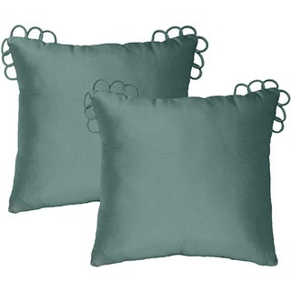 Rose Tree 'Coventry Teal' Silk Square Pillows (Pack of 2)
