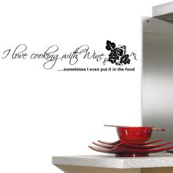 Vinyl 'I Love Cooking With Wine...' Wall Decal