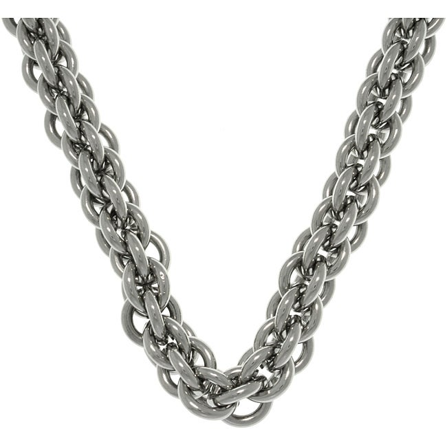 Carolina Glamour Collection Stainless Steel Double Round Link Chain Necklace