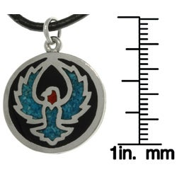 Carolina Glamour Collection Unisex High-polish Pewter Turquoise Stone Eagle/Phoenix Necklace