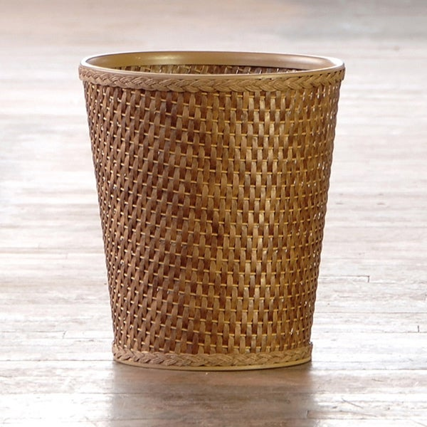 'Carter' Cappuccino Round Woven Wastebasket