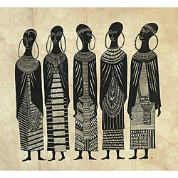 Heidi Lange 'Seven Maasai Girls' Screen Print (Kenya)