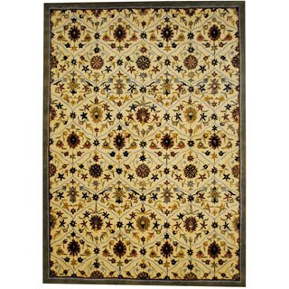 Herat Oriental Indo Hand-tufted Tibetan Ivory/ Grey Wool Rug (8' x 11')