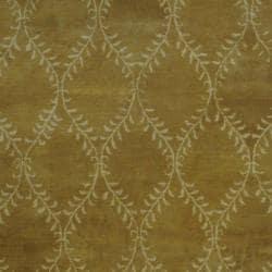 Indo Hand-tufted Tibetan Light Brown/ Ivory Wool Rug (5' x 8') - Thumbnail 1