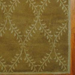 Indo Hand-tufted Tibetan Light Brown/ Ivory Wool Rug (5' x 8') - Thumbnail 2