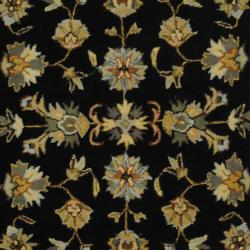 Indo Hand-tufted Mahal Black/ Gold Wool Rug (6' Round) - Thumbnail 1