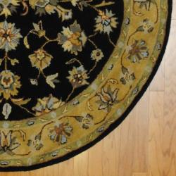 Indo Hand-tufted Mahal Black/ Gold Wool Rug (6' Round) - Thumbnail 2