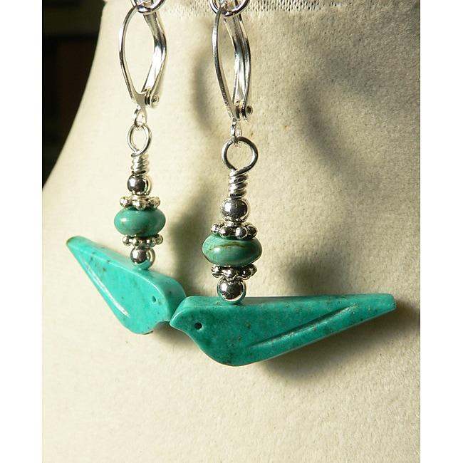 Silvertone Turquoise 'Selena' Earrings