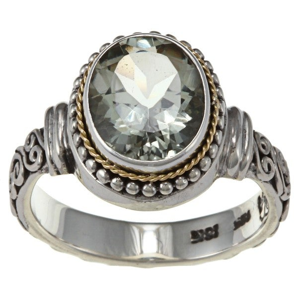 18k Gold and Sterling Silver Green Amethyst Balinese Ring
