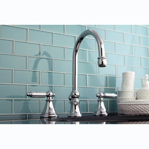 Shop three hole chrome widespread bathroom faucet free shipping today 6509367 for Two tone widespread bathroom faucets