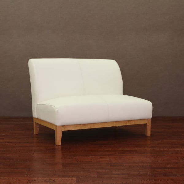 Cole Modern White Leather Loveseat