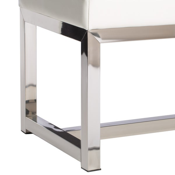 Liberty Modern White Leather Bench   Free Shipping Today   Overstock.com    14097459