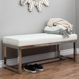 Liberty Modern White Leather Bench
