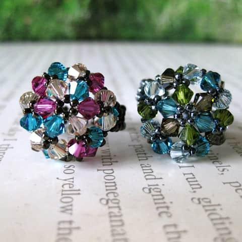 Handmade Multi-colored Crystal Beaded Flower Ring (United States)