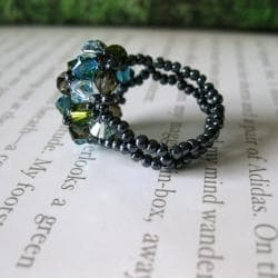 Multi-colored Crystal Beaded Flower Ring