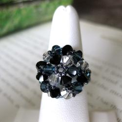 Black and Silver tone Crystal Beaded Flower Ring