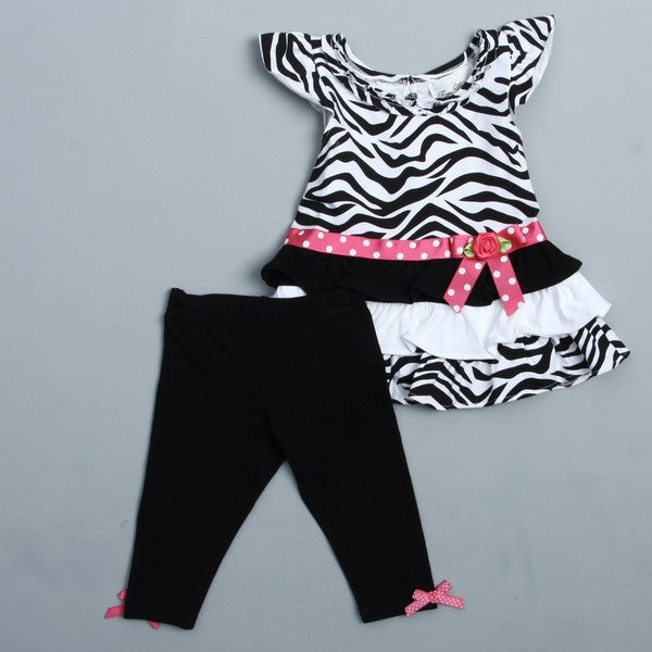 Rare Editions Girl's Black/ White Zebra Tunic and Legging Set
