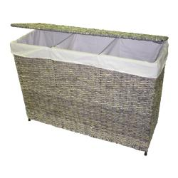 america basket company woven maize 3section lined hamper