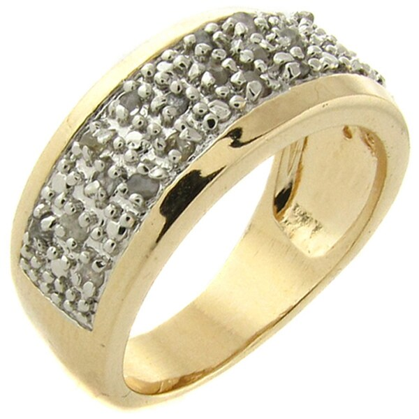 14k Yellow Gold over Silver 1/4ct TDW Diamond Band (I-J, I2-I3)