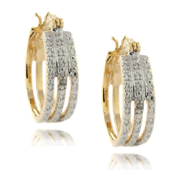Finesque 14k Gold over Silver 1/2ct TDW Diamond Triple-band Hoop Earrings