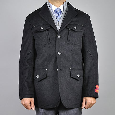 Men's Black Wool/ Cashmere 3-button Jacket