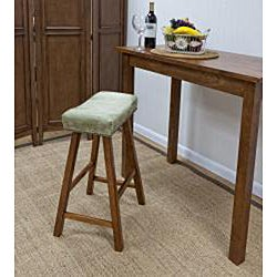 Walnut Florence 24-Inch Apple Green Upholstery Counter Stool