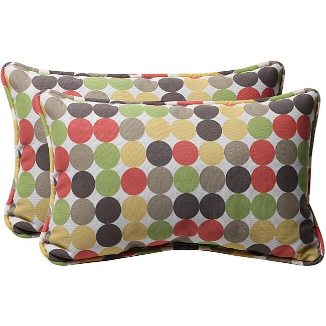Pillow Perfect Decorative Polka Dots Outdoor Toss Pillows (Set of 2)