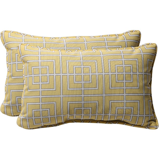 Pillow Perfect Decorative Yellow/ Grey Geometric Outdoor Toss Pillows (Set of 2)