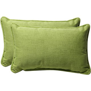 Pillow Perfect Decorative Solid Green Textured Outdoor Toss Pillows (Set of 2)