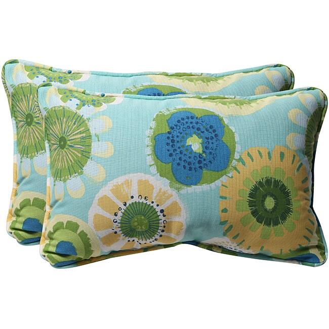 Pillow Perfect Blue/ Green Floral Outdoor Toss Pillows (Set of 2)