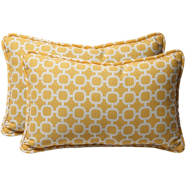 Pillow Perfect Yellow/ White Geometric Outdoor Toss Pillows (Set of 2) - Thumbnail 0
