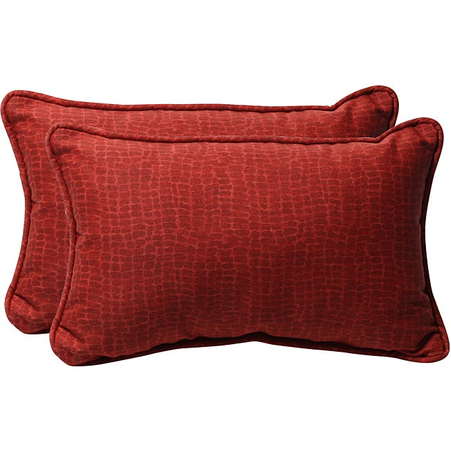 Pillow Perfect Red Animal Print Outdoor Toss Pillows (Set of 2)