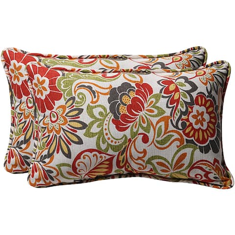 "Pillow Perfect Green/ Multi Floral Outdoor Toss Pillows (Set of 2) - 18.5"" x 11.5"" x 5"""