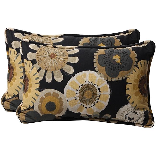 Pillow Perfect Black/ Yellow Floral Outdoor Toss Pillows (Set of 2)