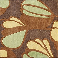 Hand-Tufted New Zealand Wool Blend Brown Floral Area Rug (6' x 6')