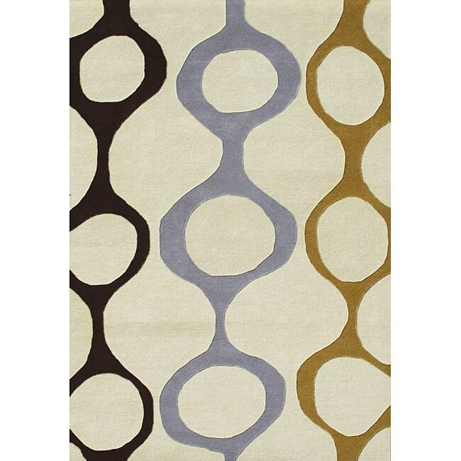 Alliyah Handmade Cream New Zealand Blend Wool Rug (5' x 8')