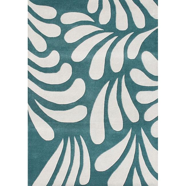 Alliyah Handmade Nile Blue New Zealand Blend Wool Rug (5' x 8')