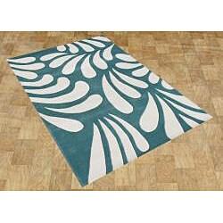 Alliyah Handmade Nile Blue New Zealand Blend Wool Rug (5' x 8') - Thumbnail 1
