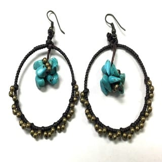 Turquoise and Brass Bead Hoop Earrings (Thailand)