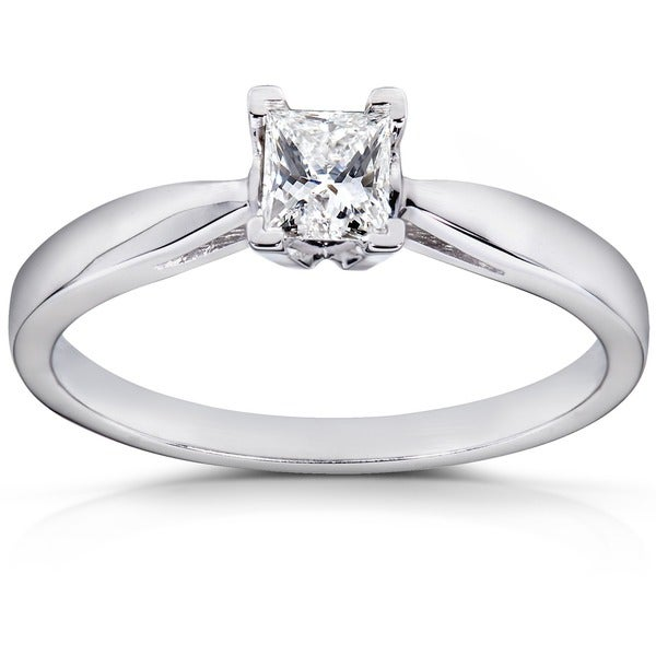 Annello by Kobelli 14k White Gold 1/4ct TDW Diamond Solitaire Ring (H-I, I1-I2)