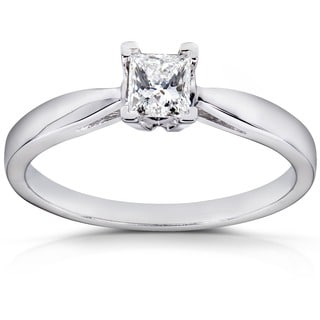 Annello by Kobelli 14k White Gold 1/ 4ct TDW Diamond Solitaire Ring