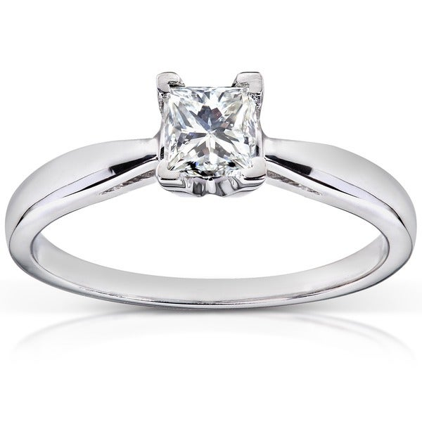 Annello by Kobelli 14k White Gold 1/2ct TDW Diamond Solitaire Engagement Ring (H-I, I1-I2